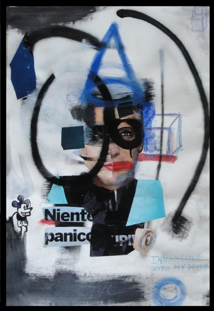 NIENTE PANICO 50X70CM COLLAGE,SPRAY,MARKER,PAINT 2016